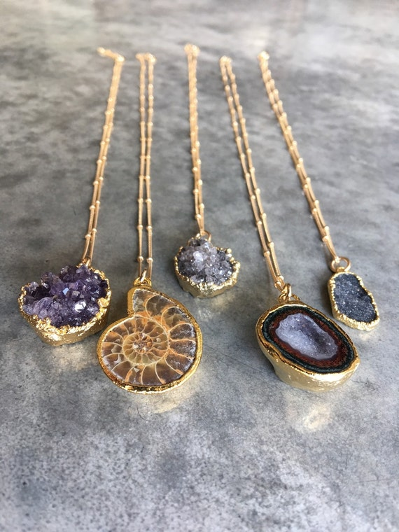 Geode Half - Amethyst - Ammonite - Druzy  Necklace