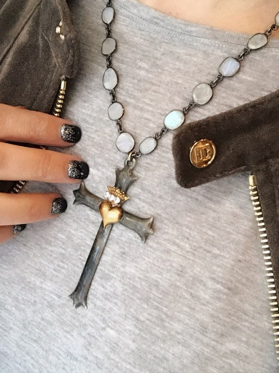 Cross Necklace moonstone chain