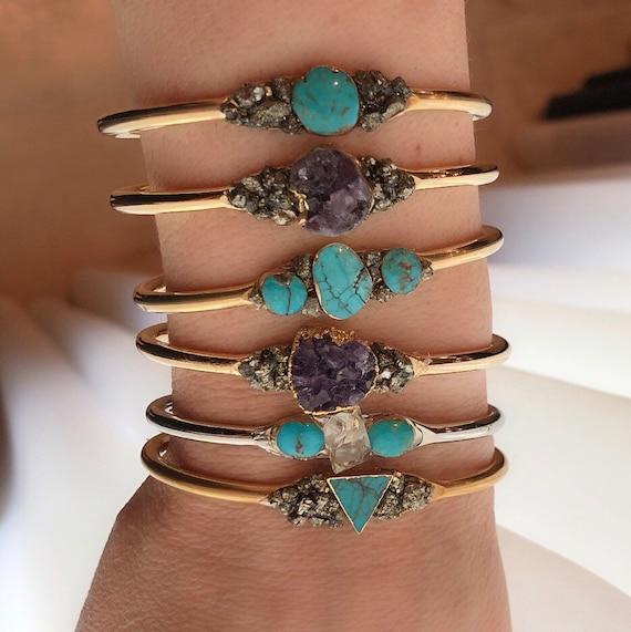 Turquoise and Pyrite Cuff Bracelets, Turquoise bracelets, Amethyst bracelet, December birthstones, amethyst jewelry, herkimer diamond