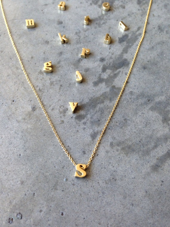 lower case initial necklace, gold initial, gold letter, initial letter,monogram necklace, personalized necklace, bridal