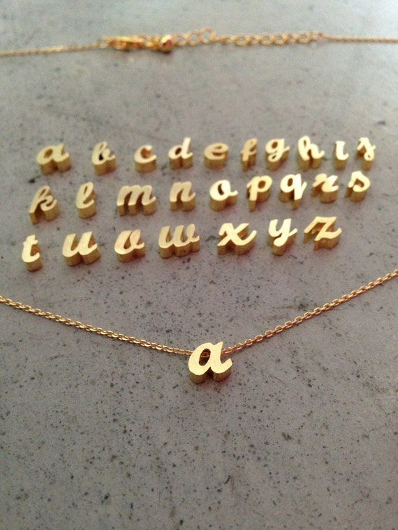 lower case initial necklace, gold initial, gold letter,initial letter, letter necklace, personalized necklace, gift for her, custom jewelry