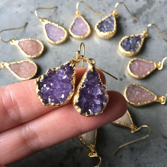 Natural Druzy Earrings, Druzy jewelry, crystal Druzy, Crystal jewelry, boho jewelry, bridesmaids jewelry