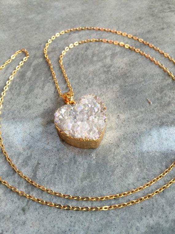 Heart Druzy Necklace, Druzy jewelry, Valentines Day Gift, Aunt Gift, best friend gift, wedding gift