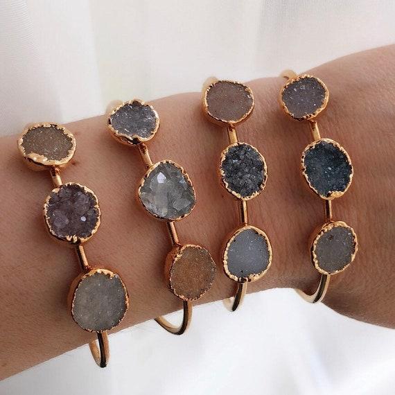 Amethyst Druzy Cuff Bracelet, Crystal Druzy Jewelry, Boho Jewelry, Raw amethyst, February Birthday, Birthstone jewelry