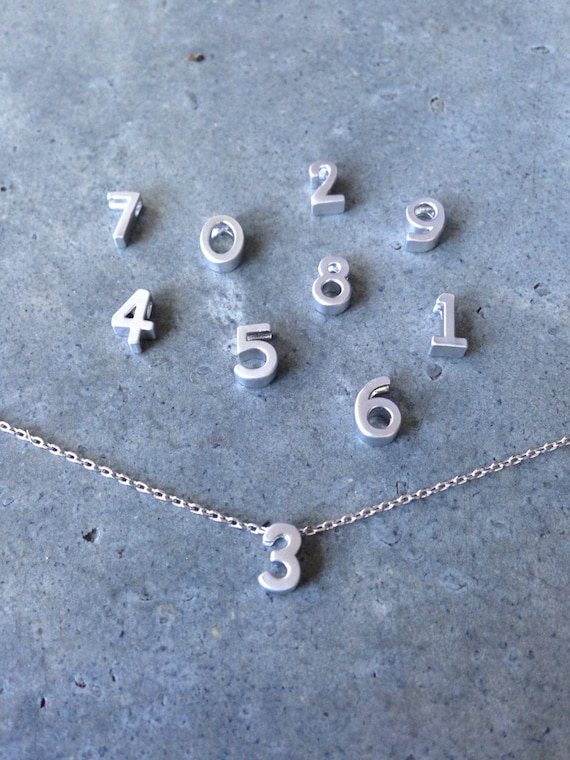 Silver number necklace