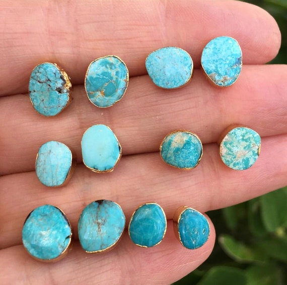 475b5770b Natural turquoise studs earrings   Etsy