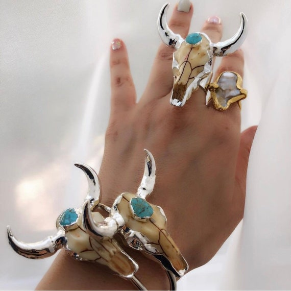 Longhorn bracelets and longhorn ring, boho jewelry, turquoise jewelry, festival jewelry