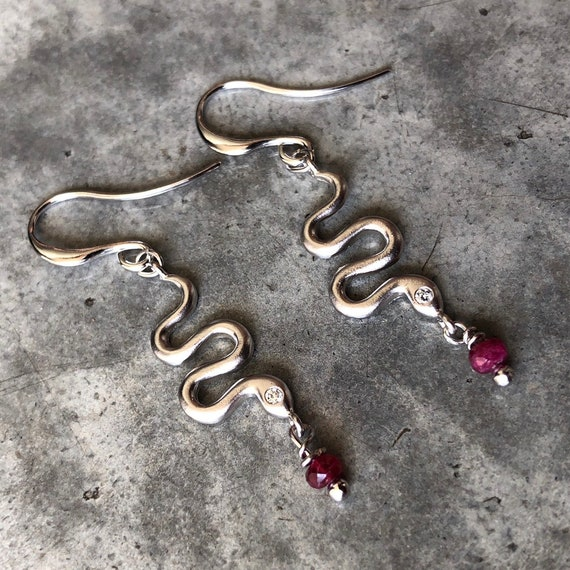 Ruby Silver snake earrings, ruby birthstone jewelry