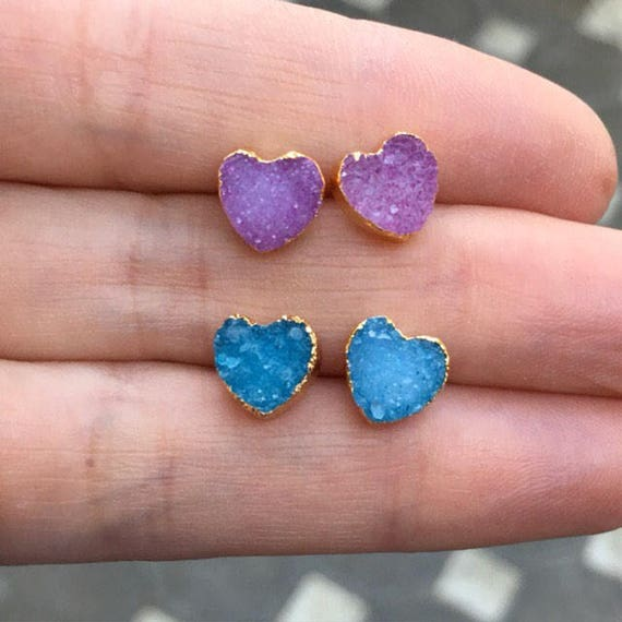 Druzy heart earring, druzy jewelry, heart earrings, boho jewelry, bridesmaids jewelry
