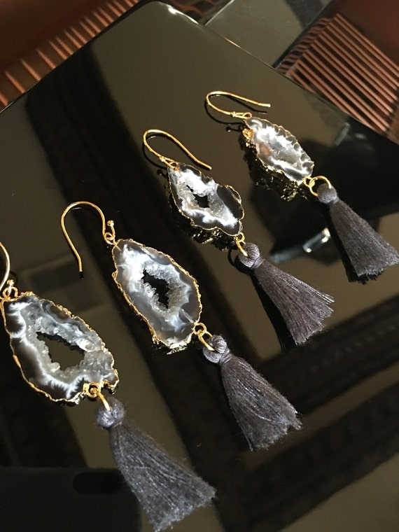 Sliced Druzy Agate Tassel Earrings