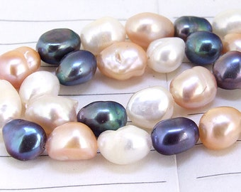 One Full Strand--- Luster Rice Black Pearl Pink Pearl White Pearl Pure Freshwater Pearl----8mm-10mm----about  35 Pieces----15.5 inch strand