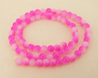 """Charm Peach Candy Jade Glass Gemstone Beads ---- 6mm ----about 70beads----about 16"""" in length"""