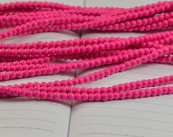 Peachblow Pinkish Pink Round Howlite Turquoise Beads, Loose Round Turquoise Beads 15inch in strand diameter 4mm