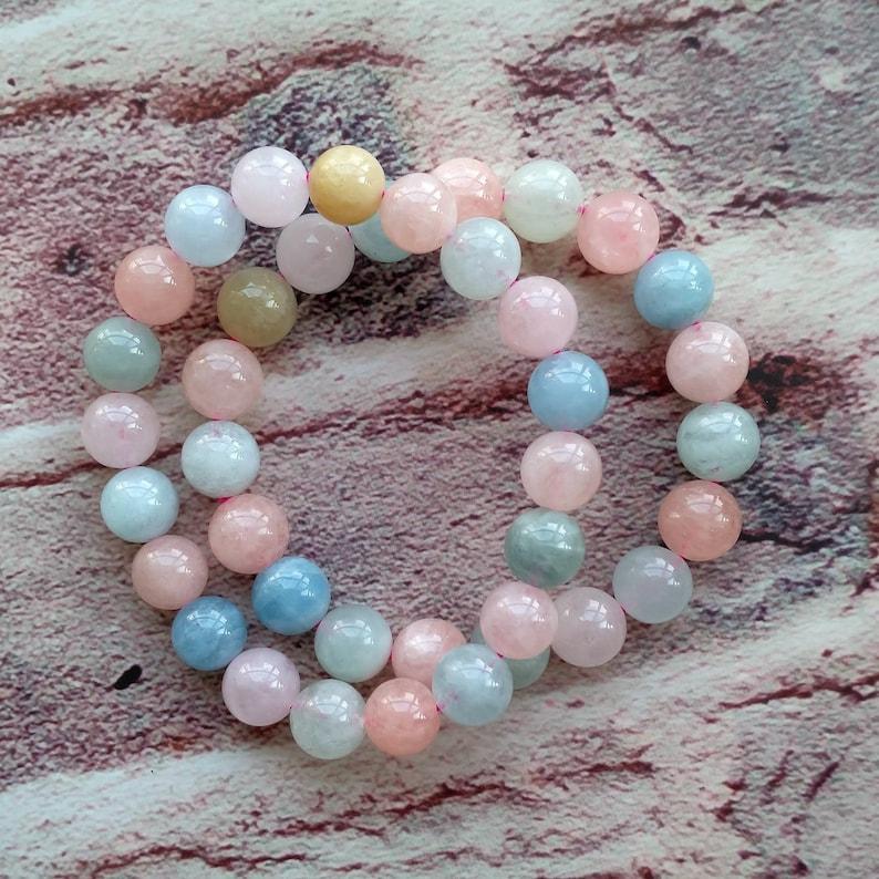 Natural Morganite Beads Bracelet Semi-precious Gemstone Round Beads Bracelet