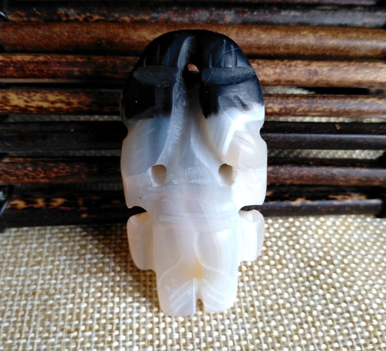 Unique Agate Beads Mask image Pendant Gray Black Agate Amulet Carved Agate Pendant AP