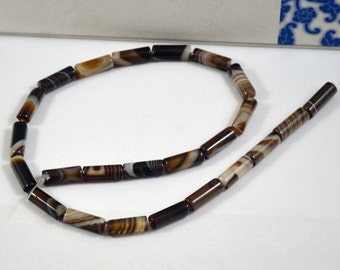 Cylinder bead Coffee Color Agate Beads ----- 6mm x16mm -----24Beads, Agate beads