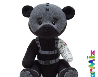 Bucky Winter Soldier bear - marvel superhero movie comic plush toy avengers bucky barnes cosplay