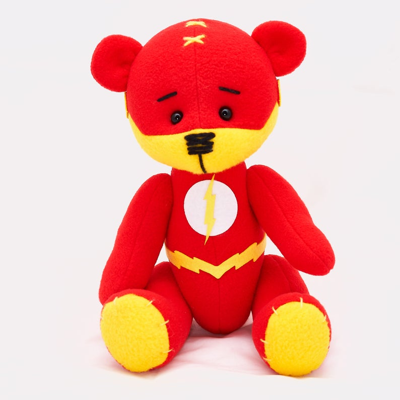 Flash bear dc superhero movie comic plush toy justice league Barry Allen cosplay