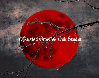 Modern Blood Red Moon Thorn Branch Gothic Home Decor Matted Picture USA A175