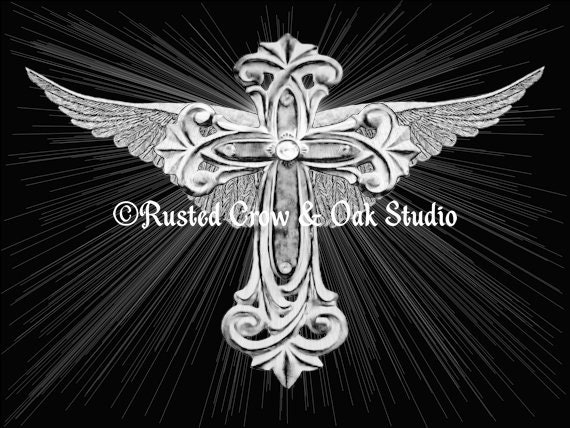 Black White Wings With Cross Rays Religious Spiritual Art