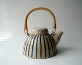 Teapot in Beige and Blue, Dots and Stripes