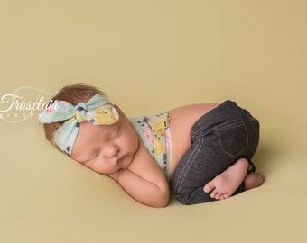 Love Me Some Denim - newborn pants in a dark denim knit with side stitching, pockets and fun rolled hem  (RTS) gender neutral