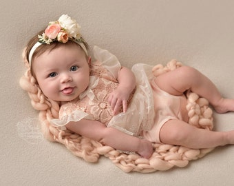 Peach Icing - 3-6 month flutter sleeve romper in a floral peach lace and blush salmon pink knit with cream lace tutu skirt and bow (RTS)