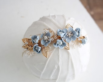 Blue Belle - darling halo style tieback in a dusty blue floral with gold leaf accents, pearls and rhinestone diamonds (RTS)