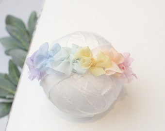 Rainbow in Pastel - dainty multi bows headband in lavender, dusty blue, mint green, pale yellow, peachy orange and pink (RTS) rainbow baby