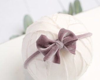 Velveteen Rabbit in Dusty Lilac - darling velvet bow headband in a dusty lilac lavender purple (rts)