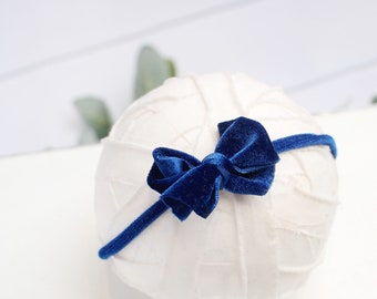 Velveteen Rabbit in Royal Blue - darling velvet bow headband in a royal cobalt blue (RTS)