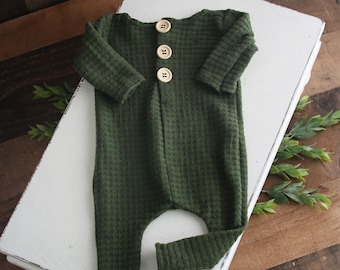 Spruce  - newborn long sleeve footed romper in a deep dusty pine green waffle knit (RTS)