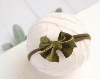 Velveteen Rabbit in Olive Green - darling velvet bow headband in olive green (rts)