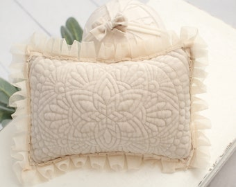 Quilted Velvet in Beige - newborn pillow sham in a super soft light pale beige velvet with ivory cream mesh ruffle trim and dainty bow (RTS)