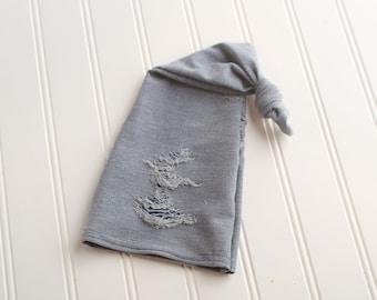Garth - newborn sleeper cap hat in a distressed light washed faux denim knit (RTS)