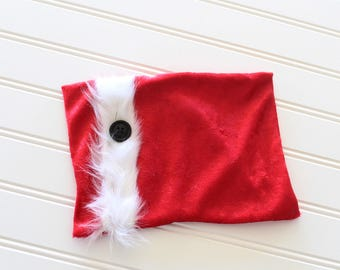 4911ee0cbcd71 Naughty or Nice - Newborn Christmas pillow sham in a crushed red velvet  with white fur trim and black button (RTS)