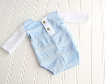 Hush Little Baby - newborn long sleeve body suit romper in textured light blue knit with waffle knit sleeves and olive green buttons (RTS)