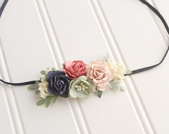 Pink Berry Crush - Dainty headband in coral, blush, pink, navy blue, sage and cream (RTS)