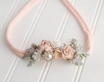 Blissfully In Love - dainty style jersey knit tieback in peach, ivory, cream, champagne and gold with pearls and rhinestones  (RTS)