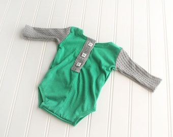 The Grass Is Greener - newborn long sleeve body suit romper in kelly green jade knit with grey waffle knit sleeves and accent buttons (RTS)