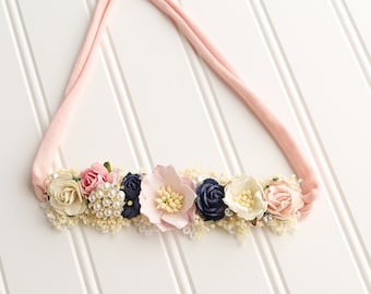 Precious Lullaby - floral halo jersey tieback in pink, blush, navy blue, cream, ivory and gold with pearls and diamonds (RTS)