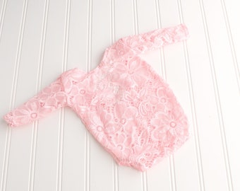 Happy In Pink - log sleeve newborn romper in a gorgeous light pink semi sheer floral lace  (RTS)