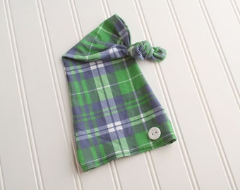 On The Green - newborn sleeper cap hat in a dusty navy blue, kelly green and white plaid knit with white button (RTS)