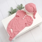 Pictures With Santa - newborn footed romper and sleeper cap hat in a red and white stripe knit (RTS)