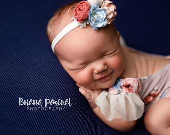 7ea6f036fc1 Autumn Wisp - ruffle sleeve newborn romper in floral light muted mauve with  blue