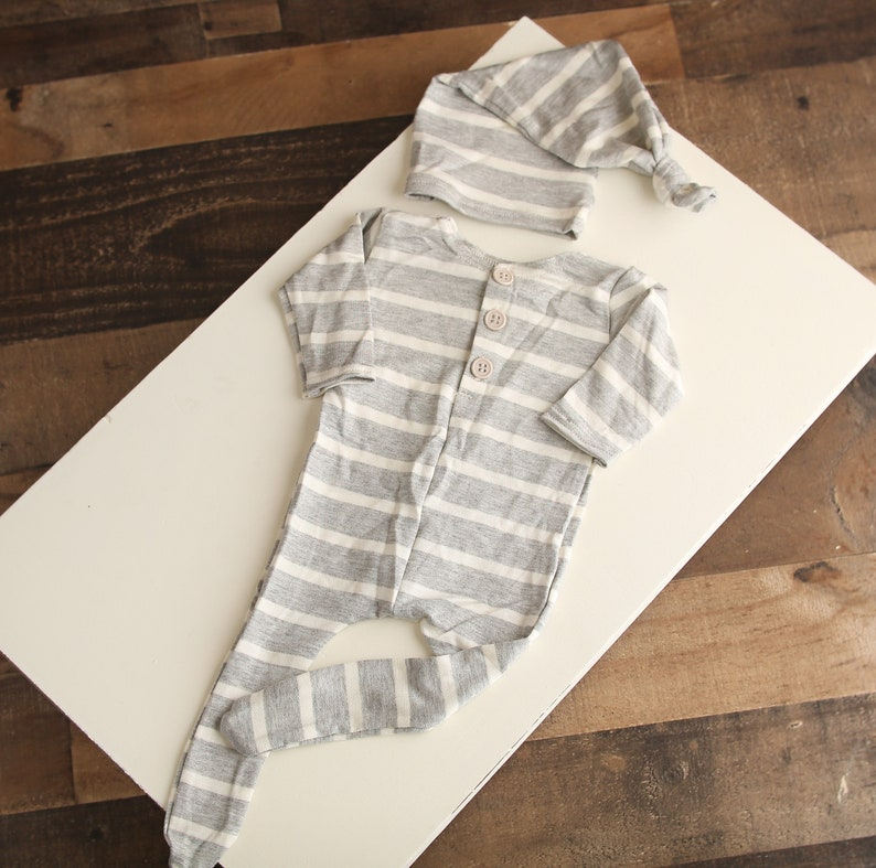 RTS Bryan newborn long sleeve footed romper and sleeper cap set in grey and ivory white stripes