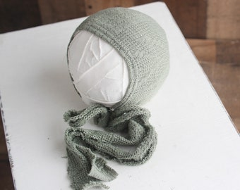 A Little Thyme Newborn Bonnet - dusty olive sage cable knit newborn bonnet