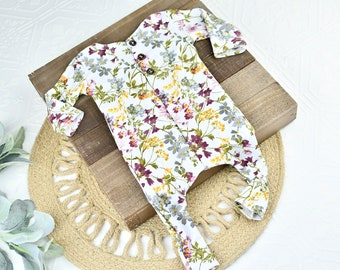May Flowers - newborn footless romper in plum purple, dusty mauve, dusty grey, stormy blue, mutard yellow, sage and olive floral (RTS)