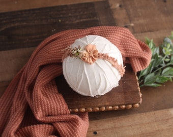 Sweet Serenade - newborn texture sweater knit wrap and headband option in a dusty brick red, peach and dusty rose