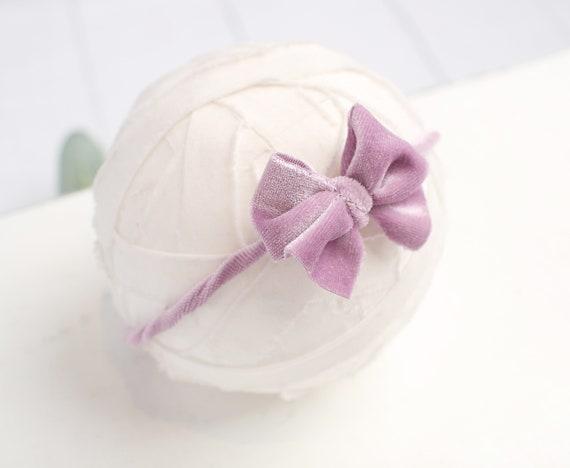 RTS Velveteen Rabbit in Peachy Pink darling velvet bow headband in peachy pink